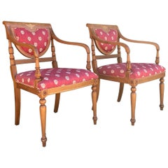 2 Antique Armchairs with Parquetry Inlay by Rossita