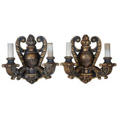 2 Antique Baroque Revival Neoclassical Carved Two Light Candelabra Wall Sconces