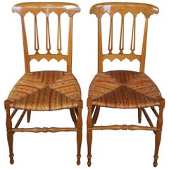2 Antique Biedermeier Solid Maple Parlor Dining Side Accent Chairs Wicker Seat