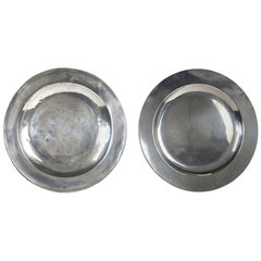 2 Antique Brightly Polished Pewter Chargers, English, 18th Century