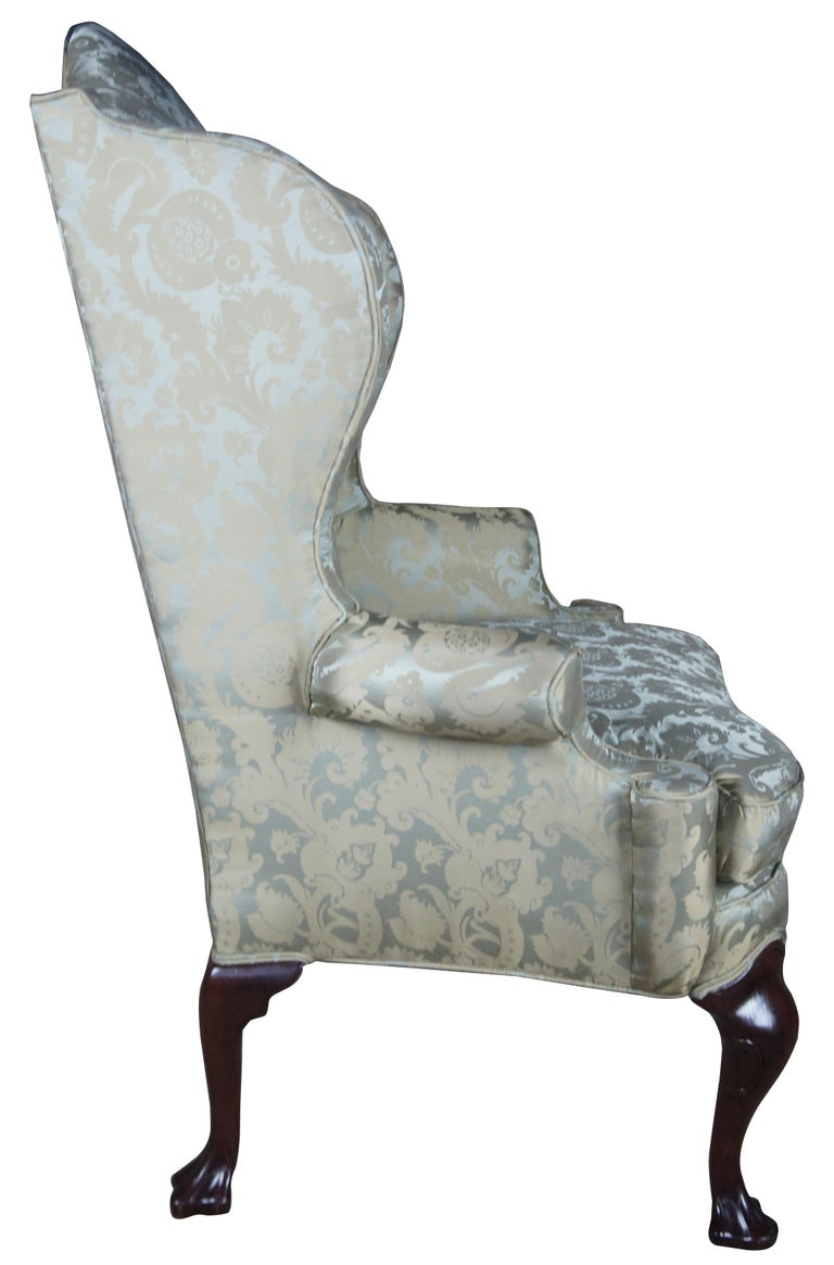 2 Antique Queen Anne Mahogany Wingback Arm Chairs Chippendale Damask Fabric In Good Condition In Dayton, OH