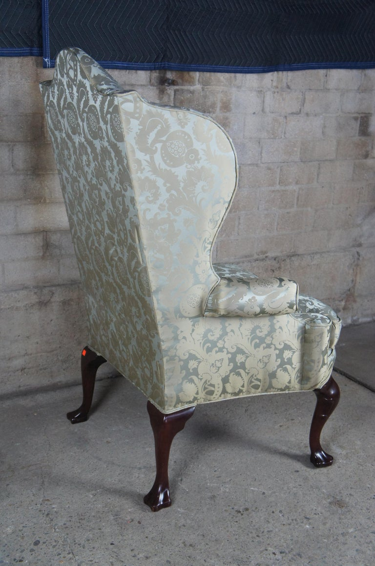 20th Century 2 Antique Queen Anne Mahogany Wingback Arm Chairs Chippendale Damask Fabric