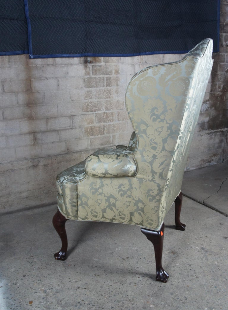 2 Antique Queen Anne Mahogany Wingback Arm Chairs Chippendale Damask Fabric 1
