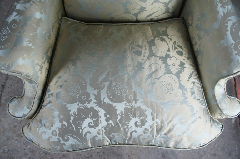 2 Antique Queen Anne Mahogany Wingback Arm Chairs Chippendale Damask Fabric 3