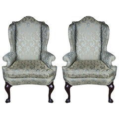 2 Antique Queen Anne Mahogany Wingback Arm Chairs Chippendale Damask Fabric