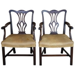2 Antique Chippendale Style Mahogany Dining Arm Chairs Polka Dot Seat