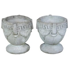 2 Antique Concrete Grecian Greek Key and Grape Garden Flower Planters Pots Urns