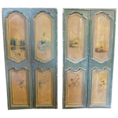 2 Antique Double Green and Yellow Lacquered Doors Painted Landscapes 1700, Italy