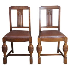 2 Antique Elizabethan Jacobean Style English Oak Dining Side Chairs Leather Seat