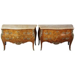 2 Antique French Louis XV Tulip Wood Marquetry Inlay Marble Bombay Commodes Pair