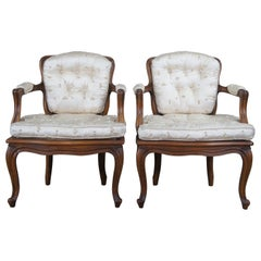 2 Antique French Provincial Walnut Cane Back Parlor Arm Chairs Fauteuil Pair