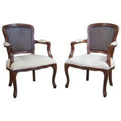 2 Antique French Provincial Walnut Cane Back Parlor Armchairs Fauteuil, Pair