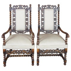 2 Antique French Renaissance Revival Carved Oak Hunt Armchairs Barley Twist