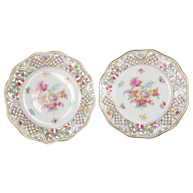 2 Antique German Pierced Hand Painted & Gilt Floral Porcelain Plates by Shumann