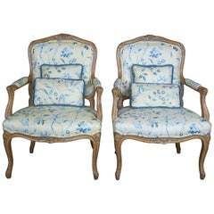 2 Antique Louis XV Fauteuil Arm Chairs Distressed French Country Bergere Pair