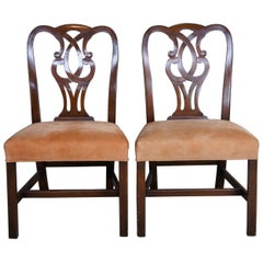 2 Antique Mahogany Chippendale Style Pretzel Back Side Chairs