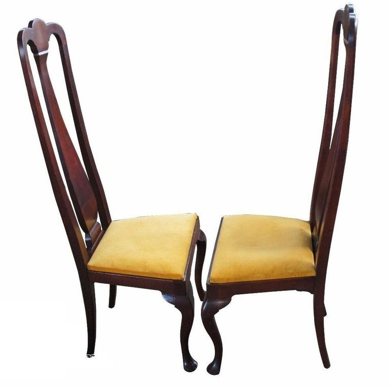 American 2 Antique Mahogany High Back Queen Anne Side Chairs Pair Upholstered Seat Yellow For Sale