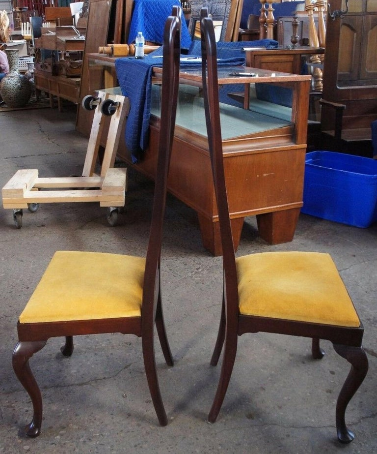 2 Antique Mahogany High Back Queen Anne Side Chairs Pair Upholstered Seat Yellow In Good Condition For Sale In Dayton, OH