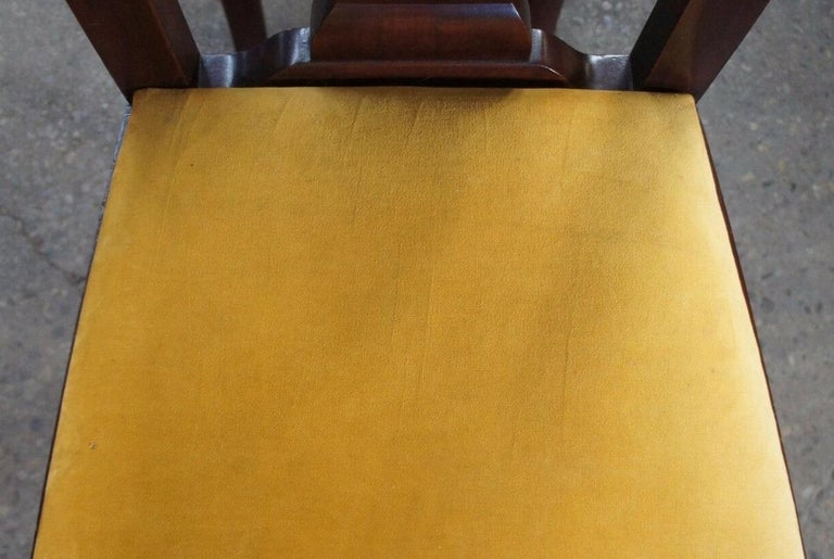 Upholstery 2 Antique Mahogany High Back Queen Anne Side Chairs Pair Upholstered Seat Yellow For Sale
