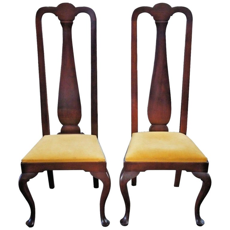 2 Antique Mahogany High Back Queen Anne Side Chairs Pair Upholstered Seat Yellow For Sale