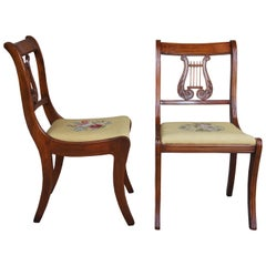 2 Antique RH Macy & Co. Cherry Floral Needlepoint Harp Back Floral Side Chairs