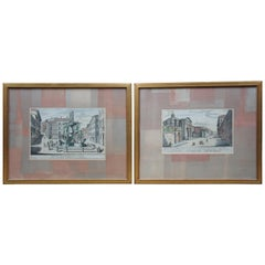 2 Antique Rome Italy Color Engravings St Andrea Church Piazza Turtle Fountain