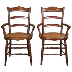 2 Antique Victorian Carved Walnut Parlor Armchairs Cained Seat Burl Accents