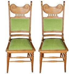 2 Antique Victorian Oak Side Chairs Green Upholstered Spindled Accent High Back