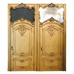 2 Antiques Baroque Doors Lacquered Yellow and Gilded, Mirror Updoor, 1700 Italy