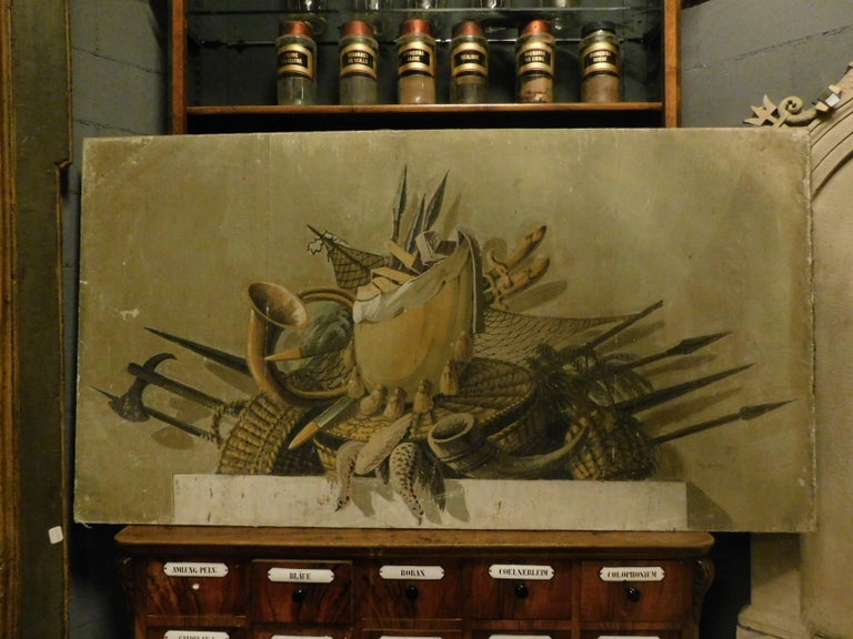 Canvas 2 Antiques Paintings with Different Still Life Objects, Late 19th Century, Italy For Sale