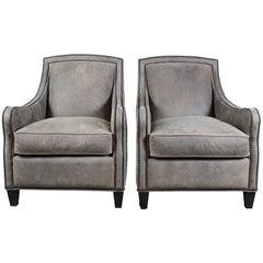 2 Arhaus Grey Suede Dunbar Leather Nailhead Club Lounge Library Armchairs Pair