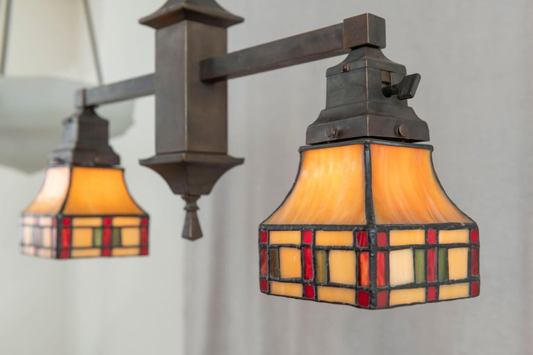 2 Arm Arts & Crafts Chandelier w/ Original Leaded Glass Shades, ca. 1910 For Sale 2