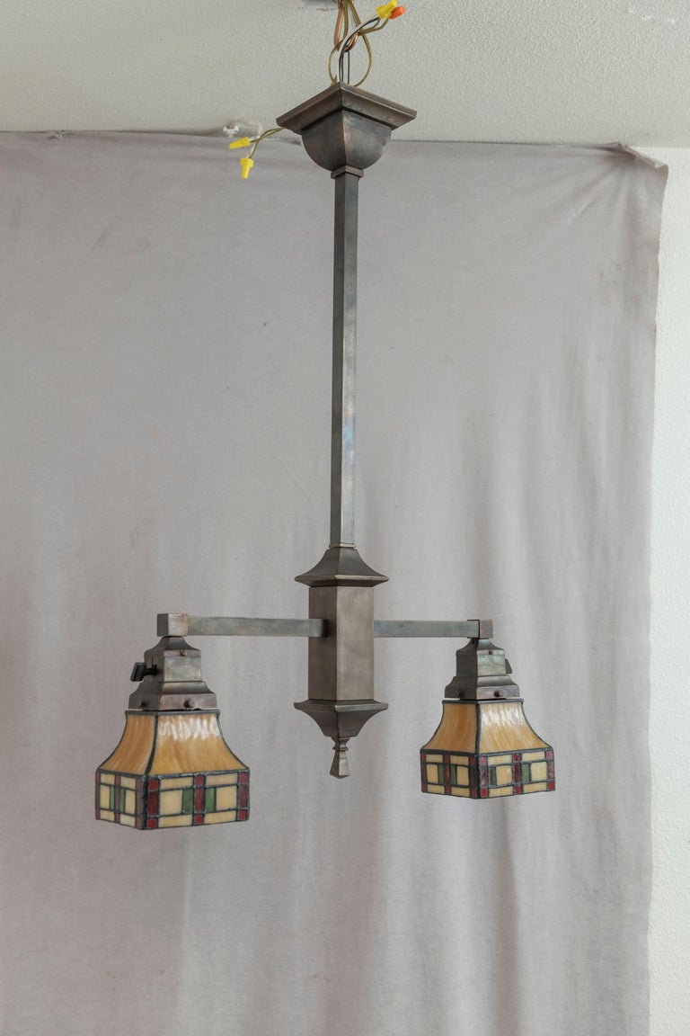 2 Arm Arts & Crafts Chandelier w/ Original Leaded Glass Shades, ca. 1910 For Sale 4