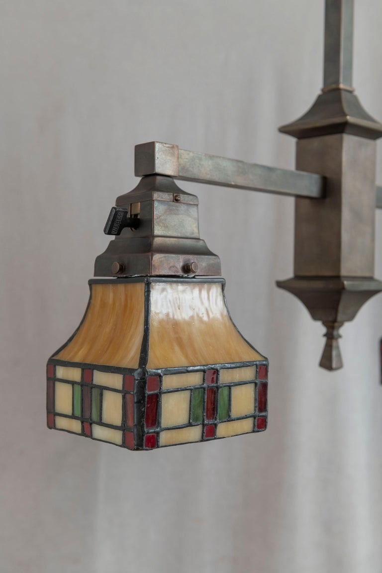 2 Arm Arts & Crafts Chandelier w/ Original Leaded Glass Shades, ca. 1910 For Sale 5
