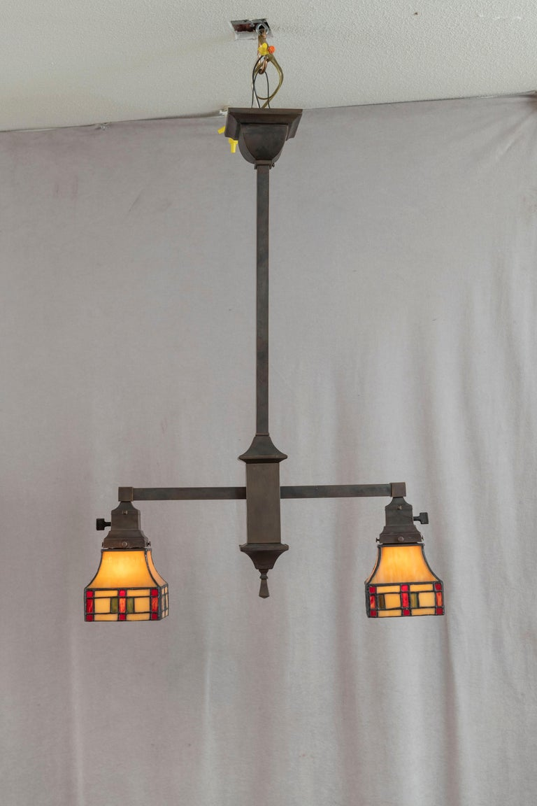 Arts and Crafts 2 Arm Arts & Crafts Chandelier w/ Original Leaded Glass Shades, ca. 1910 For Sale