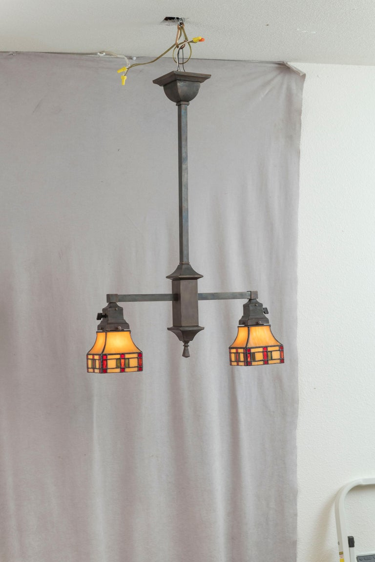 American 2 Arm Arts & Crafts Chandelier w/ Original Leaded Glass Shades, ca. 1910 For Sale