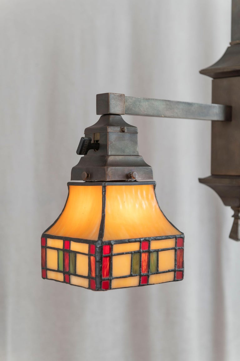Hand-Crafted 2 Arm Arts & Crafts Chandelier w/ Original Leaded Glass Shades, ca. 1910 For Sale