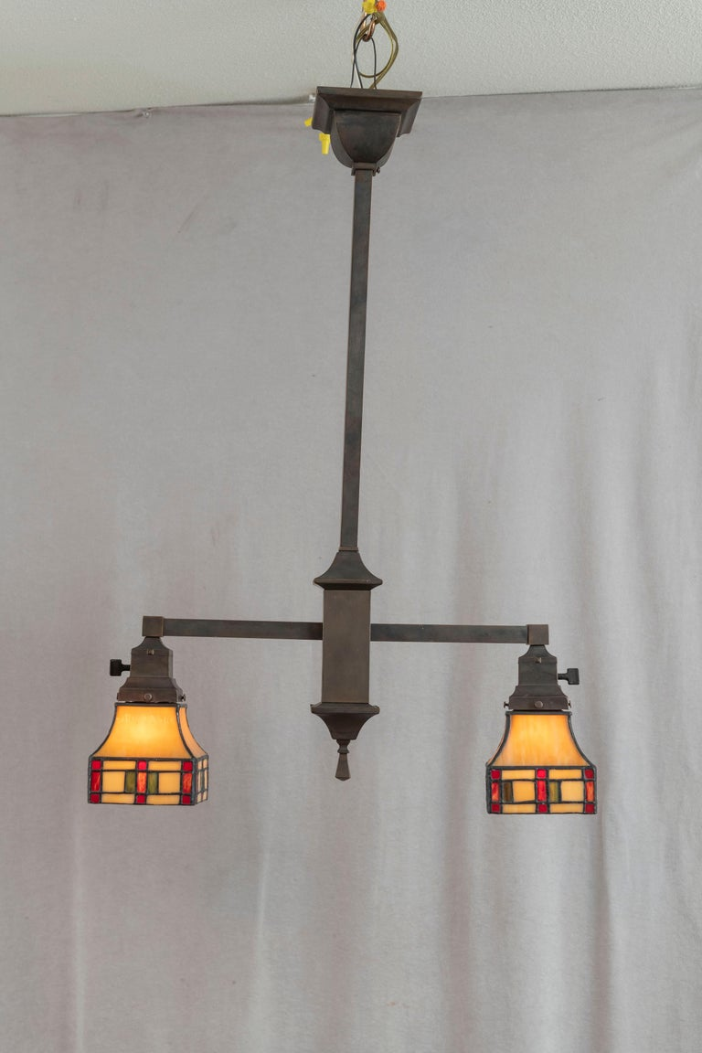 Early 20th Century 2 Arm Arts & Crafts Chandelier w/ Original Leaded Glass Shades, ca. 1910 For Sale