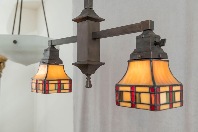 2 Arm Arts & Crafts Chandelier w/ Original Leaded Glass Shades, ca. 1910 For Sale 1