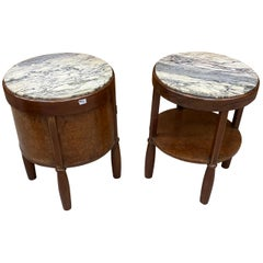 2 Art Deco Bedside Tables in Mahogany, Amboyna Burl and Marble, circa 1930