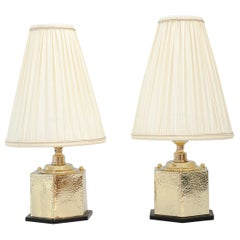 2 Art Deco Hammered Hexagonal Table Lamps with Bakelite Base and Fabric Shades
