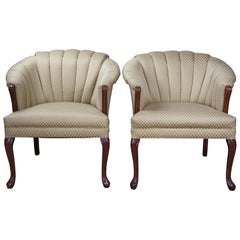 2 Art Deco Style Channel Back Club Arm Accent Queen Anne Barrel Chairs