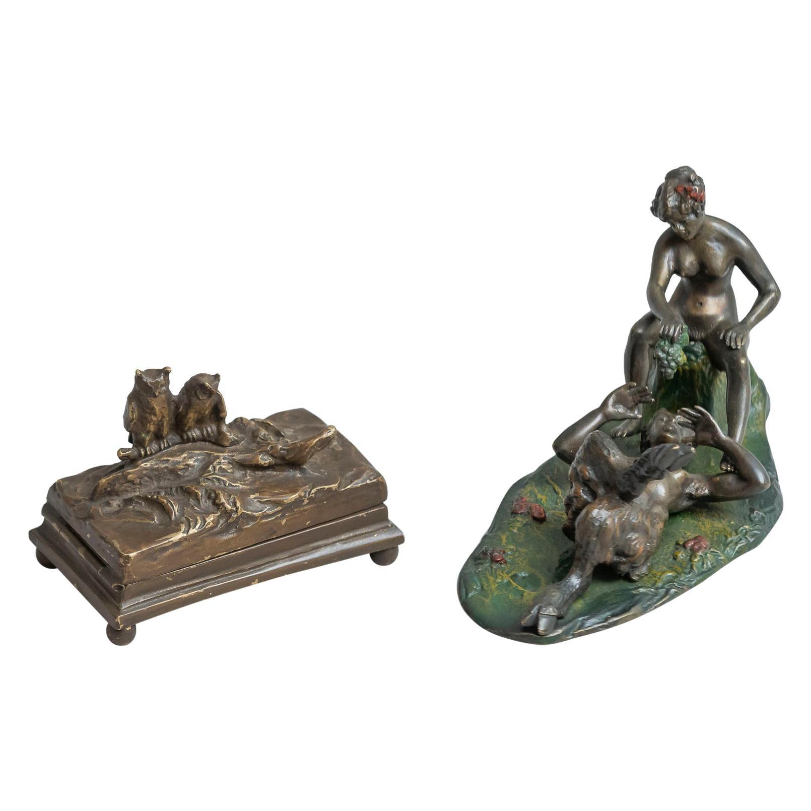 2 Austrian Movable Naughty, Erotic Bronzes, circa 1920