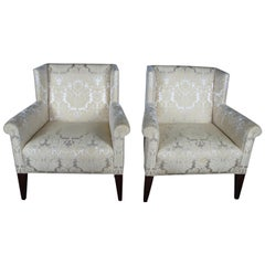 2 Baker Archetype Wingback Traditional Armchairs Mahogany Scalamandre Fabric