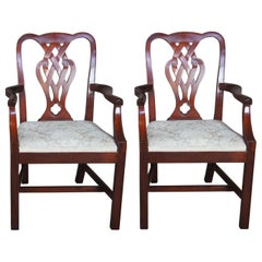 2 Baker Chippendale Style Pretzel Back Mahogany Dining Armchairs Damask Seat