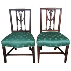 2 Baker Furniture Hepplewhite Square Back Chairs Sheraton Parlor Dining Side