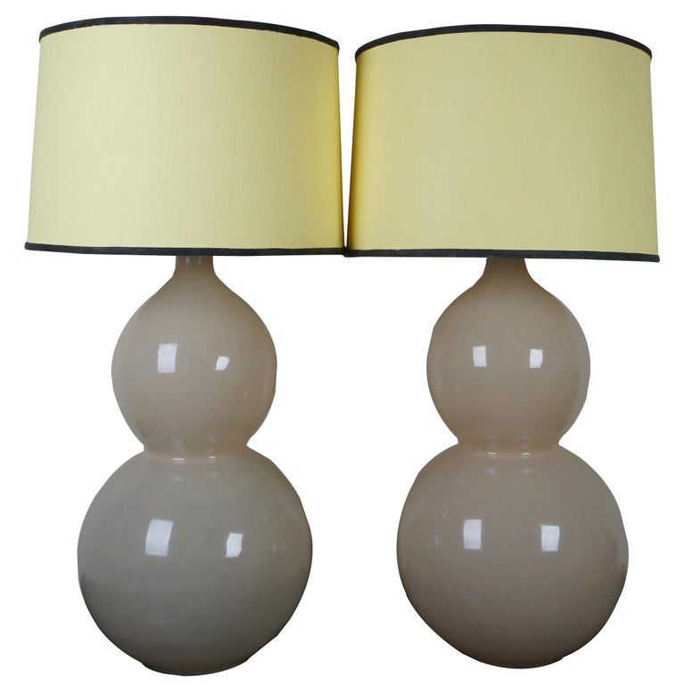 """Celeste double gourd shaped glass table lamp pair designed by Suzanne Kasler for Ballard Designs. Shades have been painted yellow. Discounts available for those who don't need the shades.  Measures: 13"""" x 28"""" / shade - 18"""" x 12"""" / height with"""