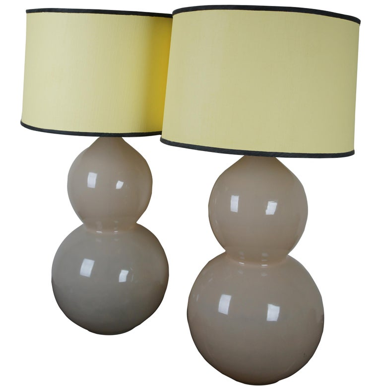 2 Ballard Designs Suzanne Kasler Celeste Double Gourd Modern Table Lamps Pair In Good Condition For Sale In Dayton, OH