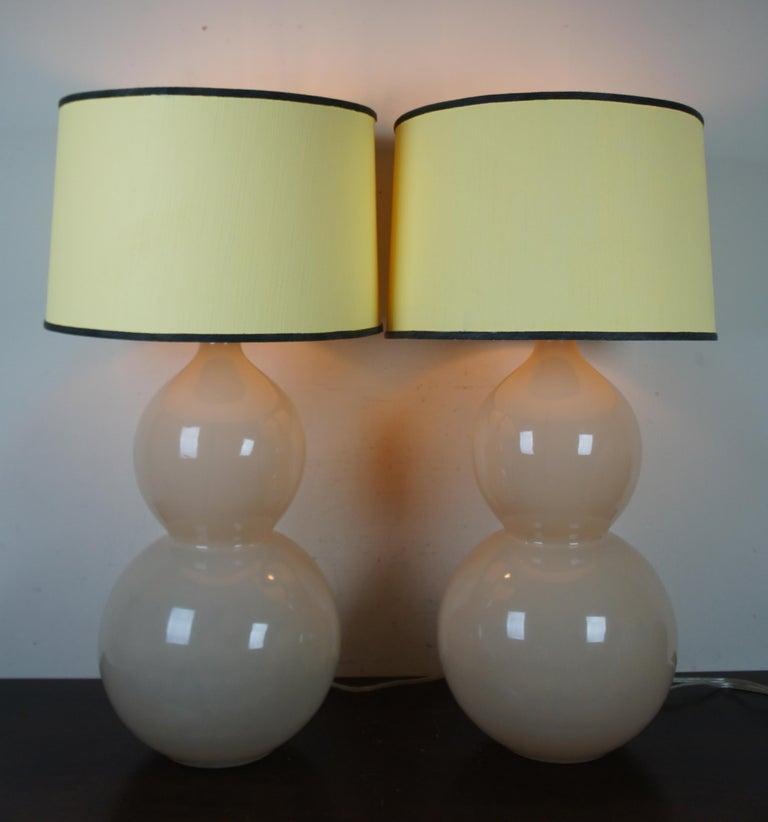 20th Century 2 Ballard Designs Suzanne Kasler Celeste Double Gourd Modern Table Lamps Pair For Sale