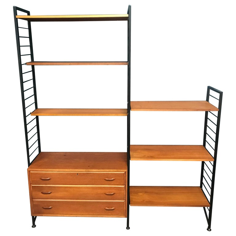 brand new 68e25 7a23f 2 Bay Ladderax Teak Midcentury Shelving System with Chest of Drawers